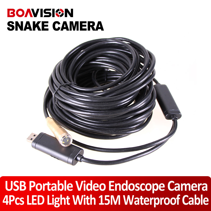 15m USB Cable plumbers snake Wire Tube USB Snake Camera Inspection Cam 4LED waterproof inspection Camera(China (Mainland))