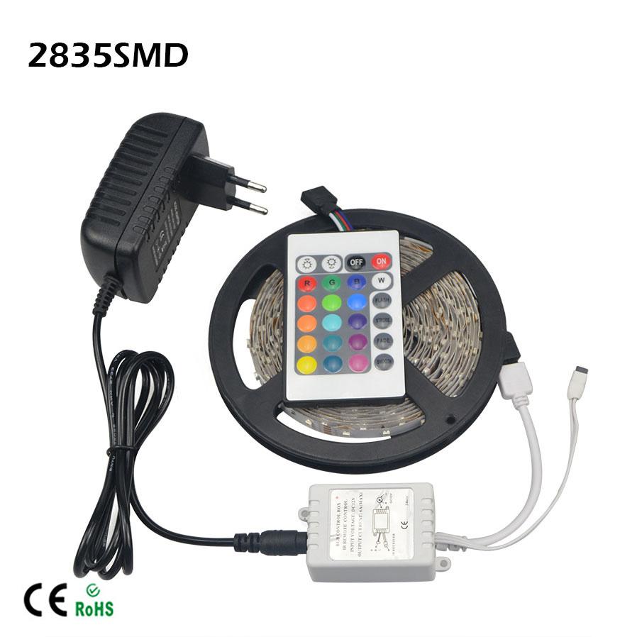 1X SMD 2835 RGB LED Strip light 5M 60LEDs/M, 24 Keys Reomote Controller, 3A EU US Power Supply Adapter AC100V -240V to DC 12V(China (Mainland))