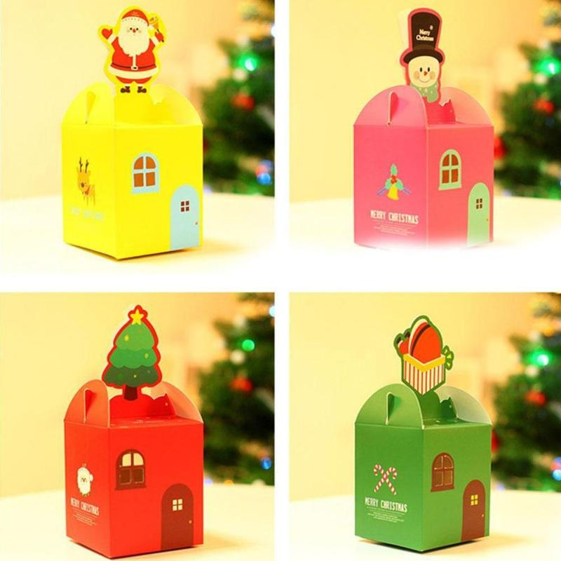 1 pc Cartoon Christmas Gift Box Candy Box Gift Bag Santa Sack Ornaments Christmas Candy Fruit Colorful Cartons Box(China (Mainland))