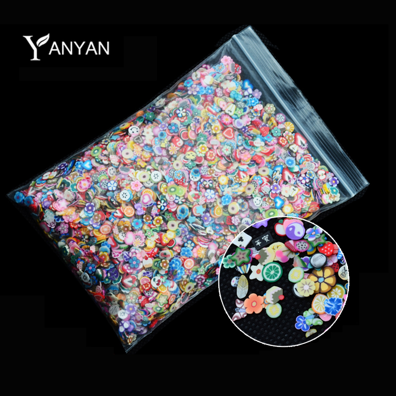 New 1pack Nail Art 3D Fruit Flowers Feather Design Tiny Fimo Slices Polymer Clay DIY Beauty Nail Sticker Decorations(China (Mainland))