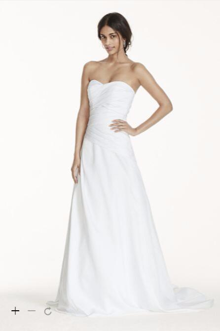 2016 satin a line weeding dresses strapless ruched satin for A line dropped waist wedding dress