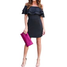 Buy 2017 Vestido Women Short Sleeve Boat Neck Party Dress Female Ladies OL Work Office Shoulder Bodycon Short Mini Dress M L XL for $16.73 in AliExpress store