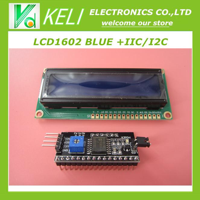Free Shiipping 1lot=2pcs 1pcs 1602 16x2 HD44780 Character LCD blue + 1pcs IIC/I2C 1602 Serial Interface Adapter Module(China (Mainland))