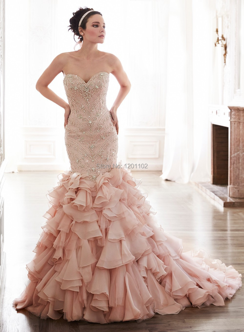 Vintage Wedding Dresses Pink : Luxury beaded blush pink mermaid wedding dress vintage bridal gowns