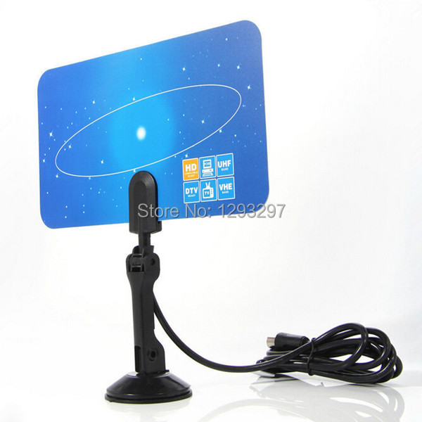 1PC Digital Indoor TV Antenna HD TV HD VHF UHF Flat Design High Gain EU Plug FZ2607 Pnv0nG(China (Mainland))