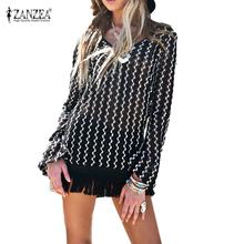 Fashion Women Blouse 2016 SpringLong Sleeve Tops Black White Stripe blusas Sexy V-neck Backless Casual Tassel Shirts Mini Dress(China (Mainland))