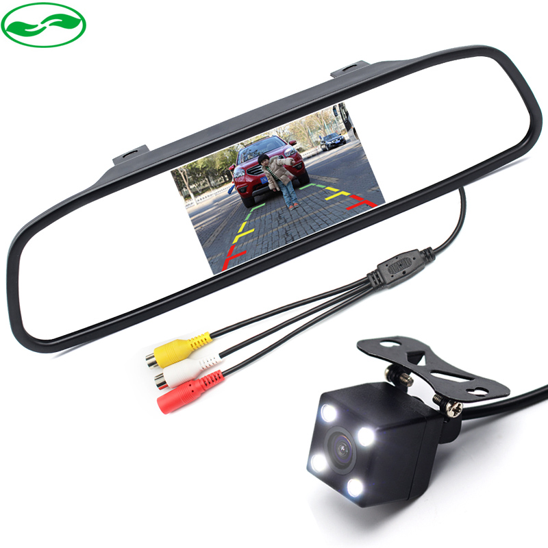 "4.3"" Car Parking Rearview Mirror Monitor With Camera, 2in1 3 Glass Lens LED Night Vision CCD Rear View Video Camera Monitors"