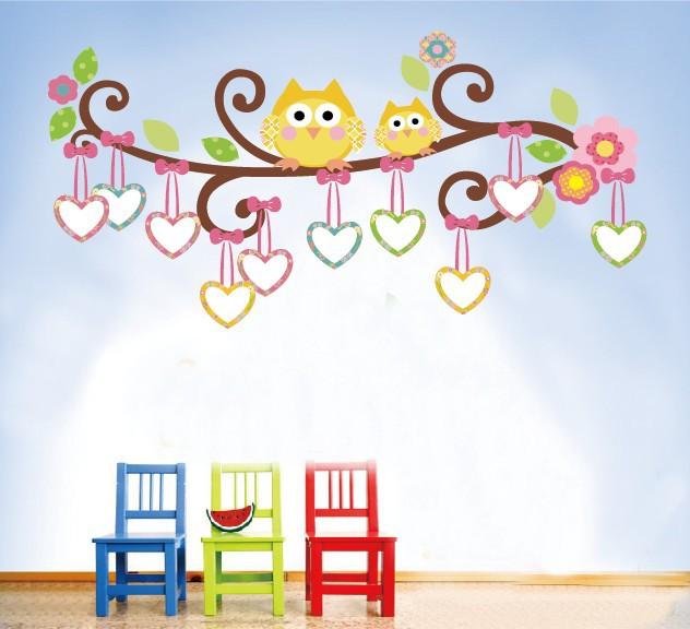 wall decals 1007 color cartoon OWL trade copyright/tree photo wall kids room nursery wall stickers(China (Mainland))