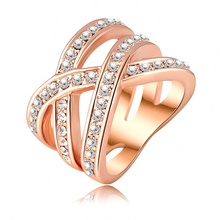 Stylish Style Ring 18K Rose Gold Plated Austrian Crystal SWA Element Women Rings Exaggerated Ring Ri-HQ0120