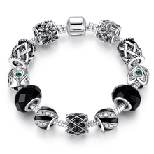 2015 Russia Belarus Popular 925 Silver Heart Charm Fit Pandora Bracelet & Bangle With Glass Beads Jewelry ps3009(China (Mainland))