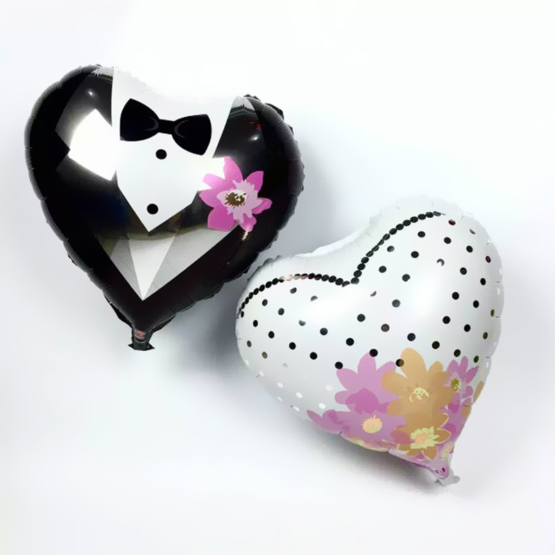 Гаджет  New 2pcs/set Bride and Groom Dress heart Shape Foil Wedding Balloons party Decoration ballons F222 None Игрушки и Хобби