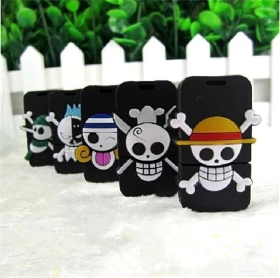 5pcs/lot Creative Skeleton Head One Piece B USB 2.0 Genuine 8GB 16GB 32GB Memory Stick Flash Drive(China (Mainland))