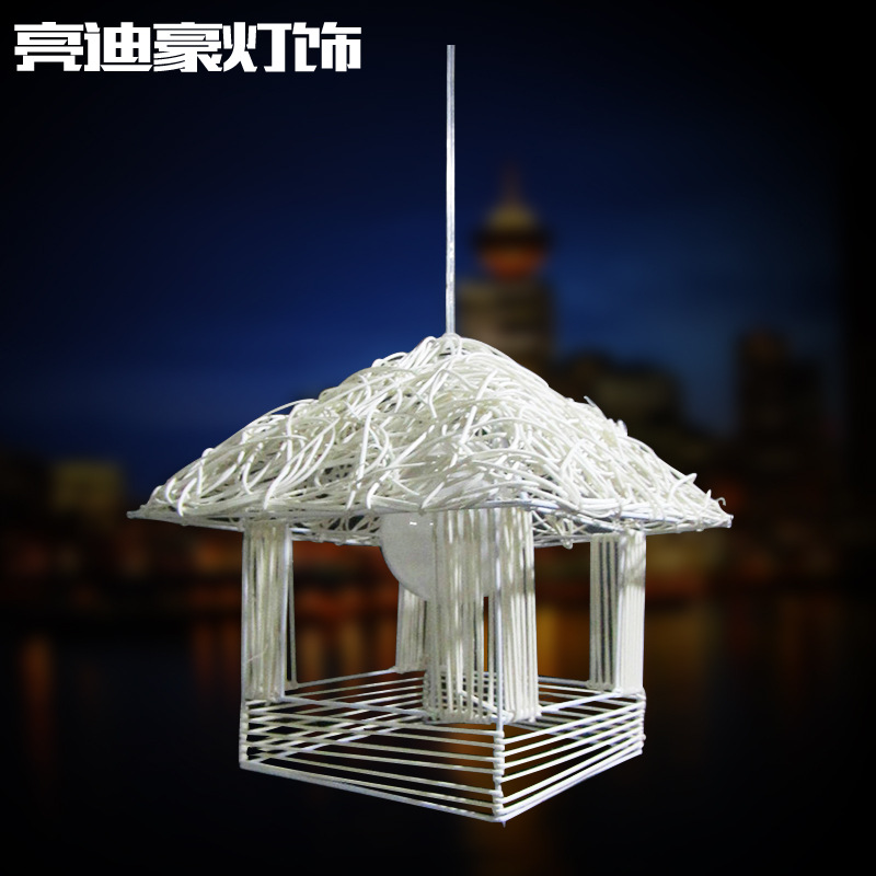 R Modern minimalist fashion iron hanging lamp LED woven rattan house Chandelier indoor lighting(China (Mainland))