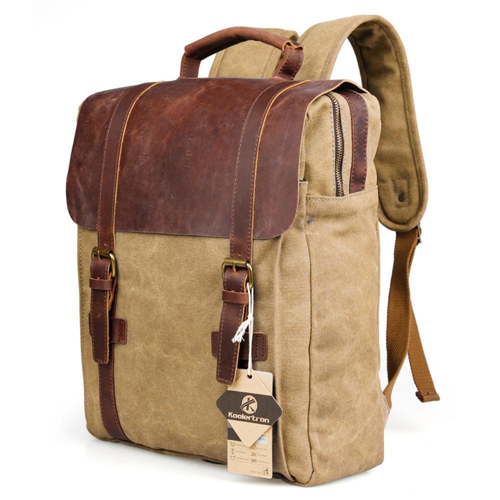 vintage men women 39 s canvas leather trim backpacks. Black Bedroom Furniture Sets. Home Design Ideas