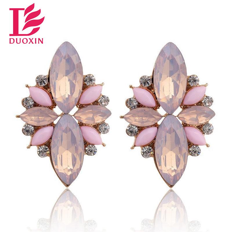 Opal Stone Stud font b Earrings b font 2015 New Elegant Crystal font b Earrings b