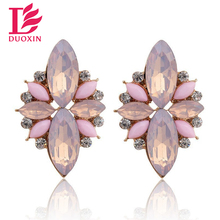 Opal Stone Stud Earrings 2015 New Elegant Crystal Earrings For Women Trendy Gold Plated Women Earrings