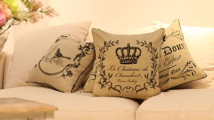 French Style Classic Linen Cushion Cover Crown Printing Sofa Pillow Cover 45*45cm Free Shipping(China (Mainland))