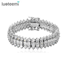 Buy LUOTEEMI Top Luxury Wedding Bracelet 3 Rows AAA+ Top Zircon Stones Paved Wedding Bracelet Bangles Women for $15.80 in AliExpress store