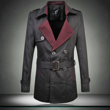 big size M-6XL Top Quality Brand Classic Double-breasted Trench Coat Men's Spring Fashion Business Men Trench With Belt(China (Mainland))