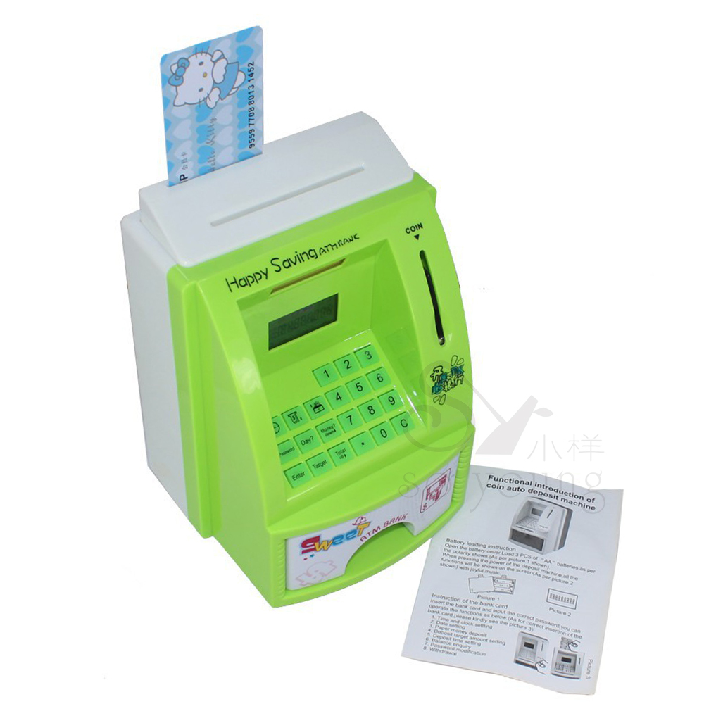 2014 popular gift piggy bank ATM money box different machine of lovely gift for chidren manage their money(China (Mainland))