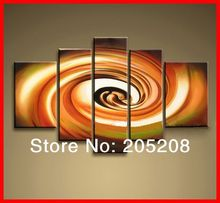 Framed 5 Panel Abstract Oil Painting on Canvas Wall Art Pictures Interior Decoration S0221(Hong Kong)