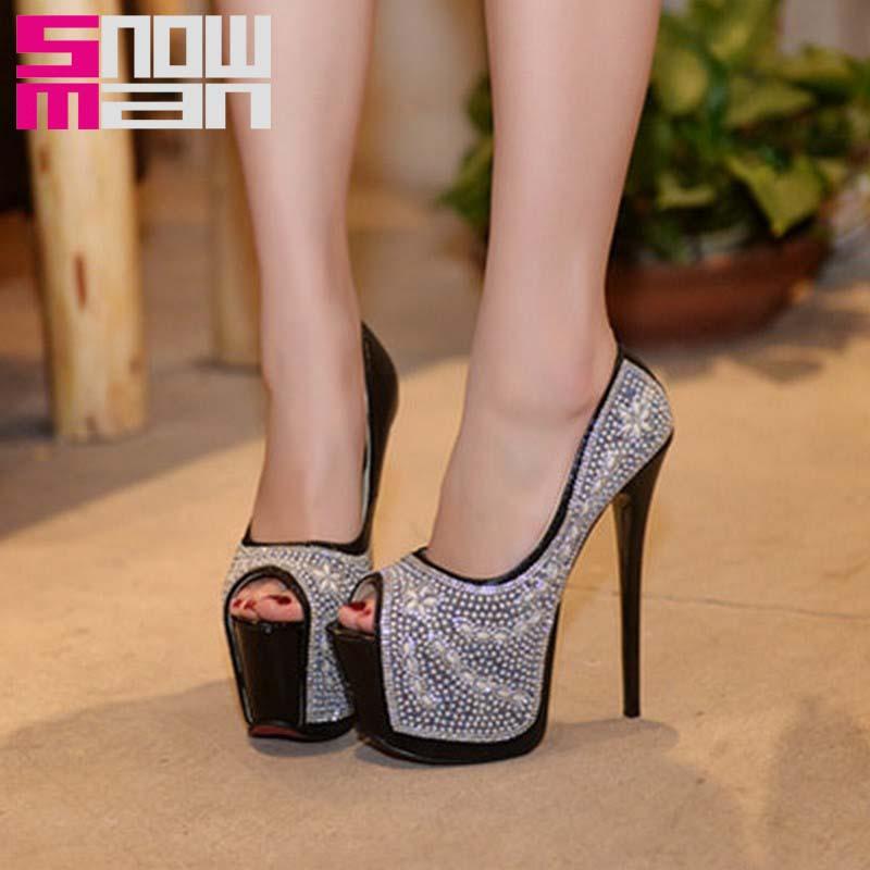 Brand 2016 Women Pumps Fashion Rhinestone Charm Shoes Woman Sexy Super Thin High Heels Thick Platform Shoes Prom Nightclub Shoes<br><br>Aliexpress