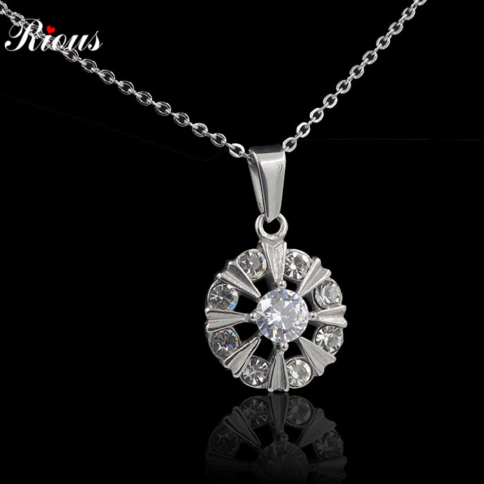 Wheel Necklace full of Fashion Rhinestone Crystal Necklaces Trendy Long Chain Statement Stainless steel Pendants For Women(China (Mainland))