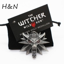 Top quality the Witcher pendant 2016 collier medallion wizard wolf wild hunt 3 Figure Game necklace + witcher 3 wolf necklace