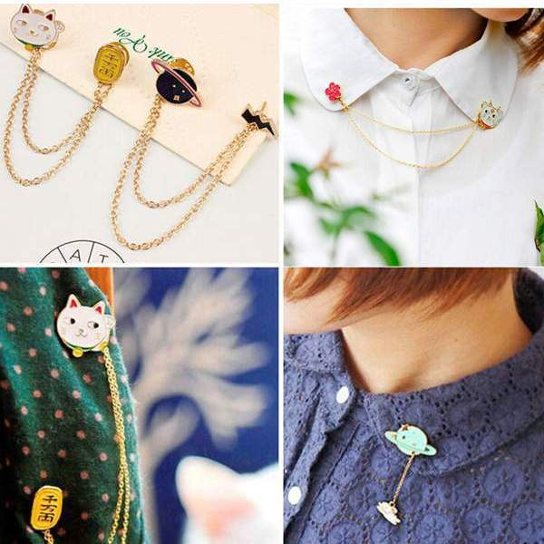 2015 New Women Girl Accessories Fashion Cute Egg Cat Moon Rabbit Chain Brooch Badge Pin Collar brooch Jewelry Gift Free Ship(China (Mainland))
