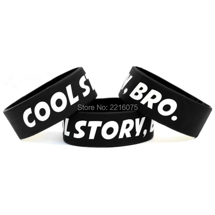 300pcs One Inch Cool Story Bro wristband silicone bracelets free shipping by FEDEX express(China (Mainland))