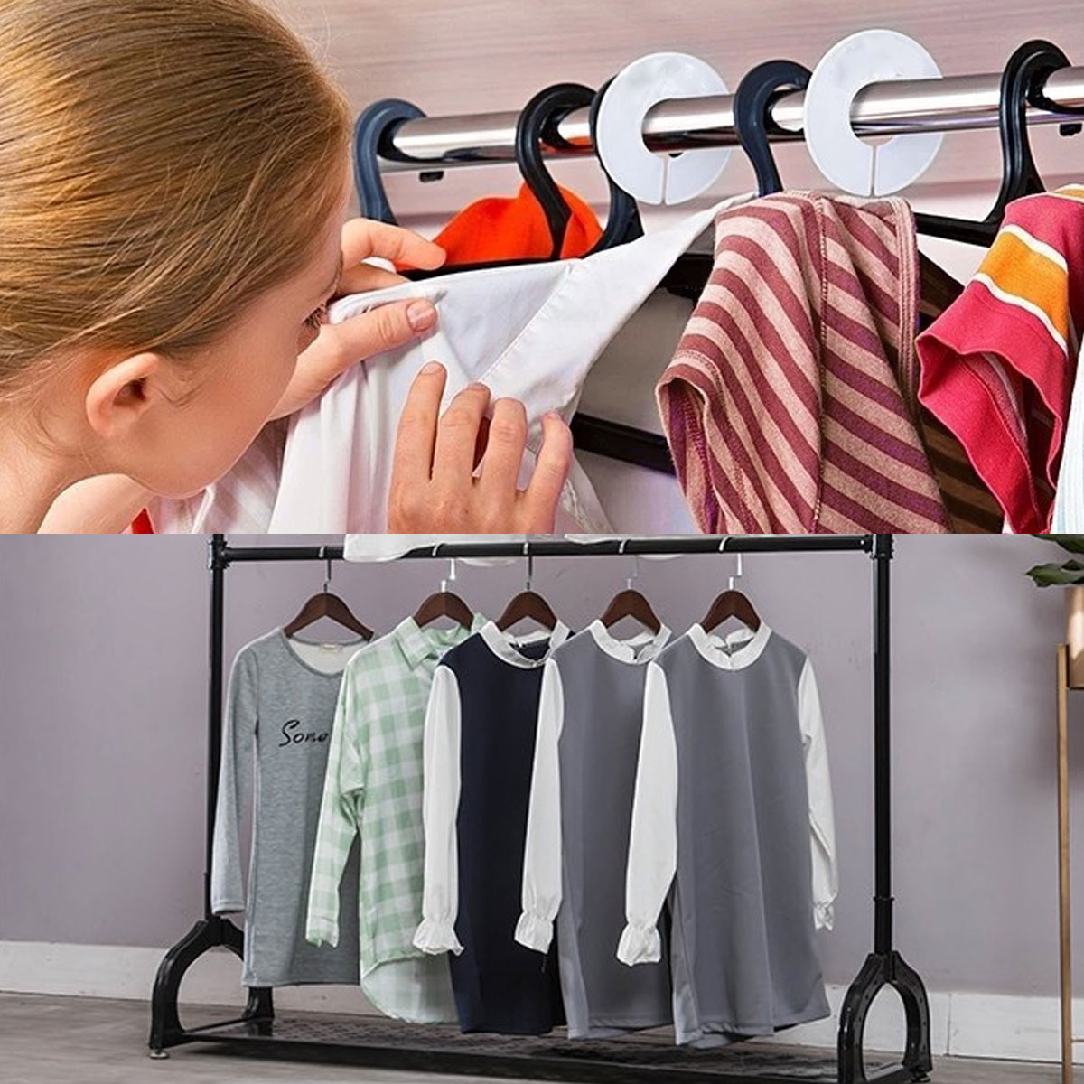 12PCS White Round Clothing Rack Hanger Size Dividers for Closet Wardrobe Stock Room Sales Floor Shopping Mall