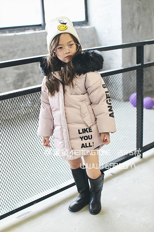 Скидки на Зимой 2016 новых детей девушки письмо печати руку вилку хлопка ватник ватник большой меховой воротник