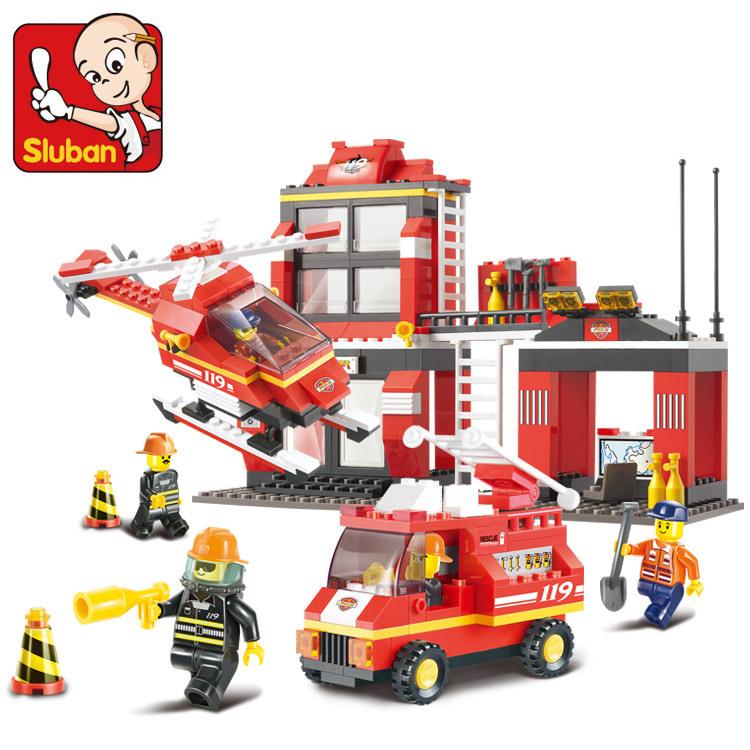 Гаджет  Free shipping Sluban fire engine 119 emergency Building Block Sets 371 pcs DIY Brick boy toy lego compatible None Игрушки и Хобби