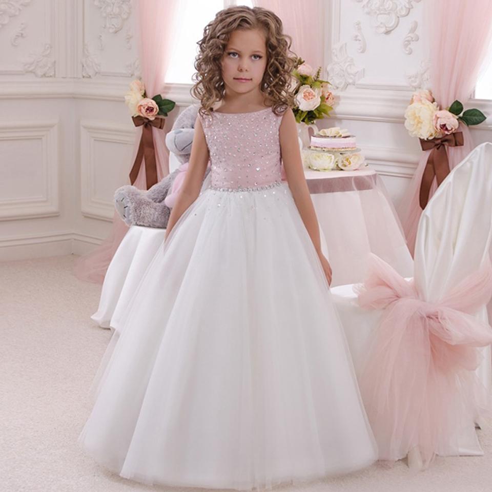 Flower girl dress pink white tutu dress babytutu for Dress for girls for wedding
