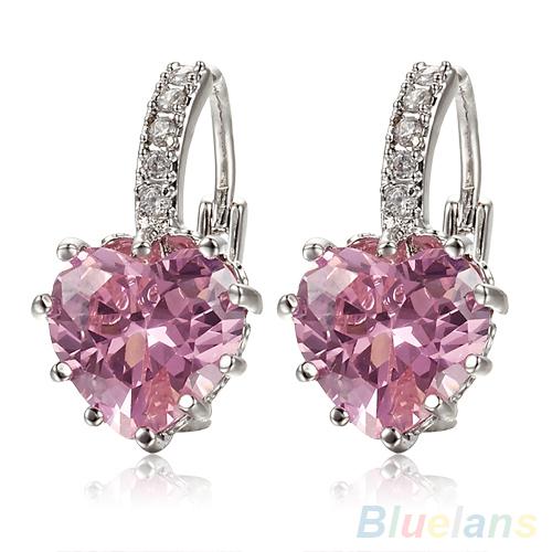 18 К белый позолоченный розовый очаровательная в форме сердца Leverback кристалл женщины серьги 0CKL