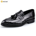 New Wedding Dress Men s Casual Crocodile Genuine Leather Brogue Moccasins Fulll Brogue Pointed Toe Fashion