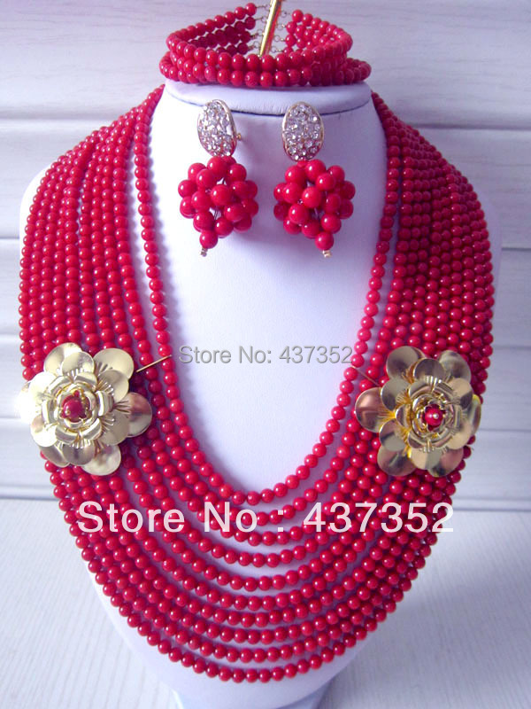 New Luxury Fashion Nigerian Wedding African Beads Jewelry set Red Coral Beads Jewelry Set CWS-293<br><br>Aliexpress