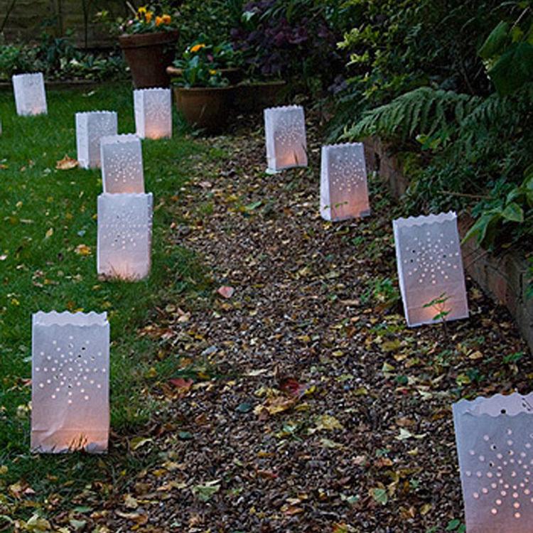 100pcs/lot Romantic Sun Flower Candle Bag Wedding Retardant Tea Light Paper Bags Luminaries Lantern For Birthday Party 26*15*9CM(China (Mainland))