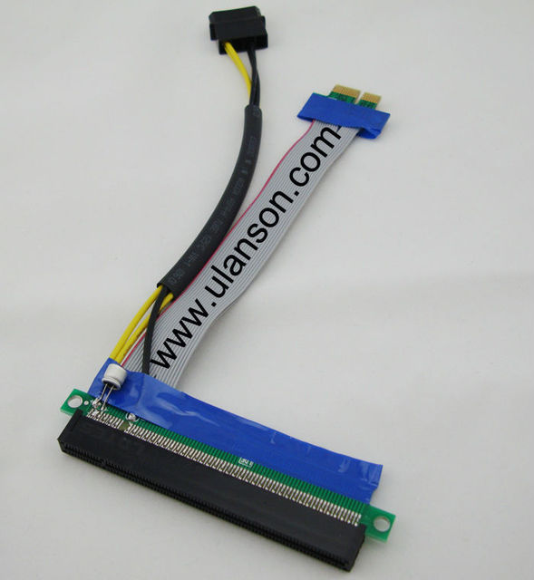 Powered PCI Express PCI-e 1X TO 16X Riser Card Extender Ribbon Cable w/ Molex Connector  (Litecoin & Bitcoin)