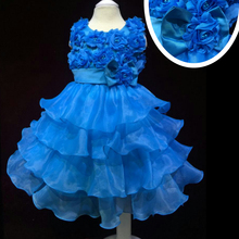 Factory Wholesale 3-8 YRS Girl Party Dress Low Price Flower girl Dresses With Flowers Rose Blue Kids Evening Gown For Child C13
