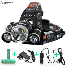 6000lm-modalità testa branello della lampada t6 + led del faro del faro di campeggio luce di pesca + 2*18650 battery + auto eu/us/au/uk charger + 1 * usb(China (Mainland))