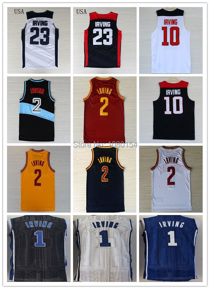 New Rev 30 Kyrie Irving Jersey 2 Cleveland Red White Yellow Dark Blue Stitched Blue 1 Kyrie Irving Duke Basketball Jerseys Best(China (Mainland))