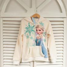 Children Warm Fleece Cartoon Elsa Cute Hoodies Sweatshirts With Zipper For Girls 2015 New Autumn Kids Sweater Clothing Moletom(China (Mainland))