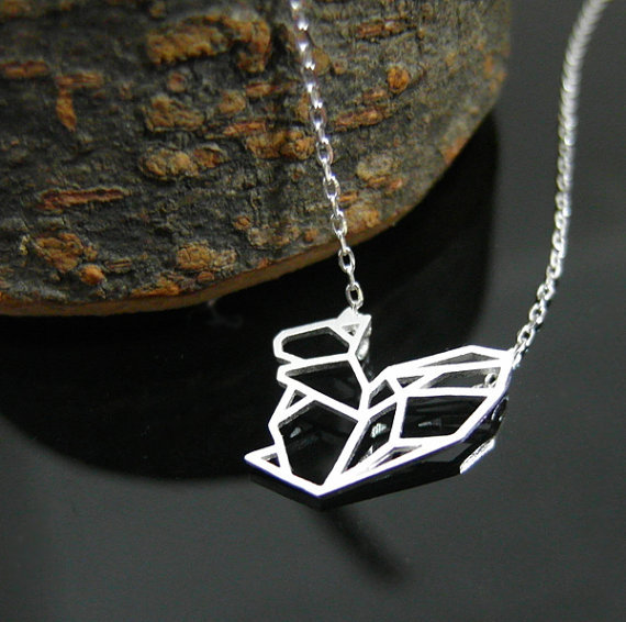 30PCS- N048 Gold Silver Cute Dainty Origami Squirrel Necklace Outline Chipmunk Necklace paper squirrel Necklaces Animal jewelry