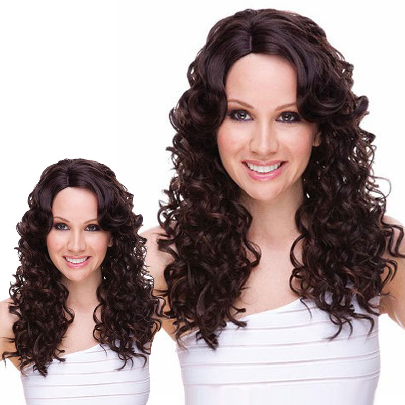 26 Cheap Synthetic Long Kinky Curly Fake Hair Full Wig Ladies Female  African American Synthetic False Hair Wig For Black Women<br><br>Aliexpress