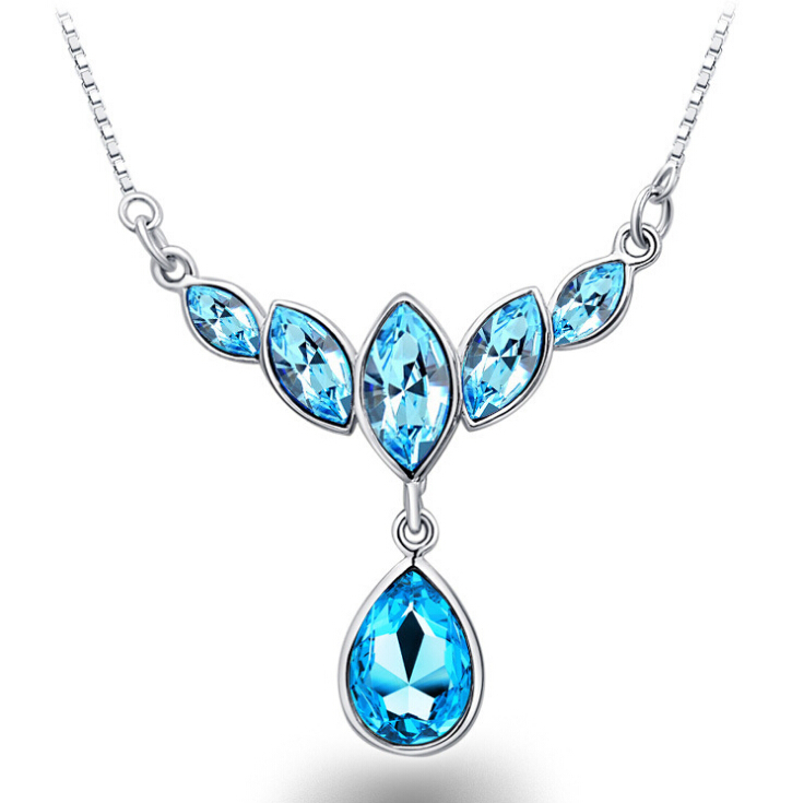 High quality new blue crystal water drop necklace silver for Drop shipping jewelry business