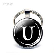 Estilo simples 26 Nome Letras Imprimir Personalidade Chaveiro Artesanal Diy Saco Pingente Moda Chave Anéis Titular(China)