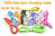 1M/2M3M Hot Selling Braided Fabric Micro USB Cord Data &Sync Charger Cable For Android Smart Phone for tablet PC Free shipping(China (Mainland))