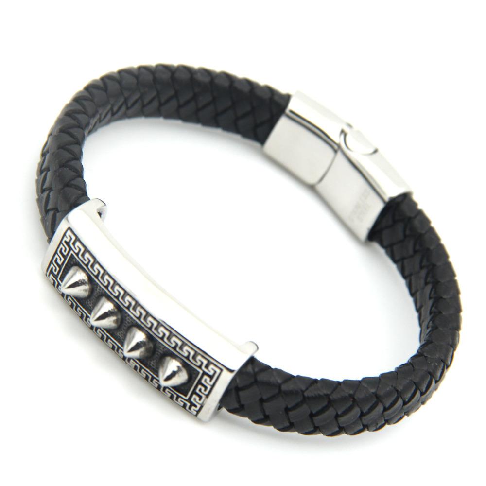 New Fashion Punk Style Stainless Steel Popular Charm Leather Bracelets & Bangles Braided Rope Wristband men bracelet jewelry(China (Mainland))