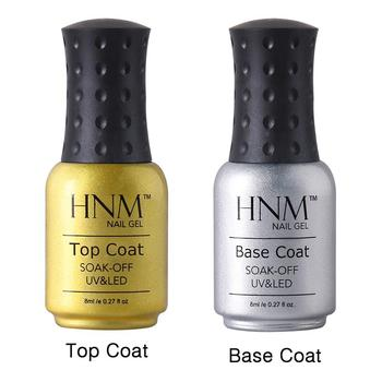 HNM 8ml Long Lasting Foundation Base Coat Top Coat Set UV LED Soak off UV Gel Polish Top Base UV Nail Prime Art Lacquer